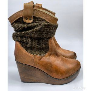 NWOT Bed Stu Burges Knit Slouch Leather Wedges 8.5